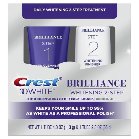<Bundle Offer> Crest 3D White Whitestrips with Light Teeth Whitening Kit & Brilliance 2 Step Premium Toothpaste and Whitening Gel System