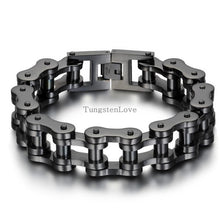 Load image into Gallery viewer, Black/Silver Heavy Wide Stainless Steel Bracelet
