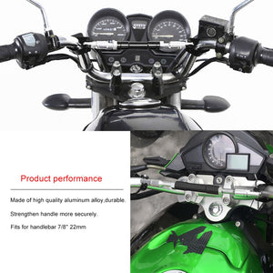 "Universal 7/8"" 22mm Black Aluminum Motorcycle Handlebar Cross Bar"