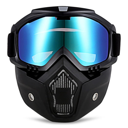 Motorcycle Goggles with Detachable Mask and Mouth Filter