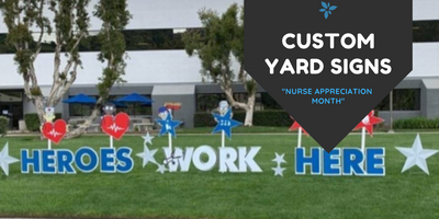 Hashtag Cutouts Custom Yard Signs for Hospitals and Businesses