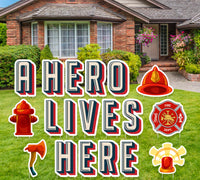 "18"" Firefighter yard sign, ""Heroes Work Here"" or "" A Hero Lives Here"" message, Support Local Firefighters, First Responder Yard Sign"