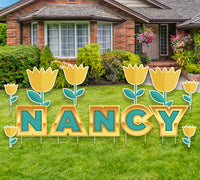 Personalized Name Yard Sign with Tulips