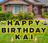 Happy Birthday Yard Sign Customizable, Personalized Construction Yard Sign and Lawn Decoration