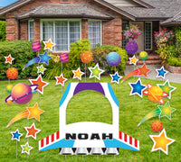 "47"" Wide Giant Rocket Ship Yard Sign Cutout with Stars, Two infinity and beyond decor 