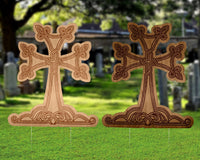 "Armenian Wood Texture Cross 24"" inches, Dark wood or lightwood color"