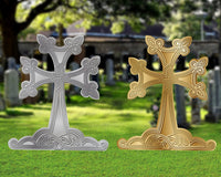 "Armenian Yards Sign Cross 24"" inches, Gold or Silver"