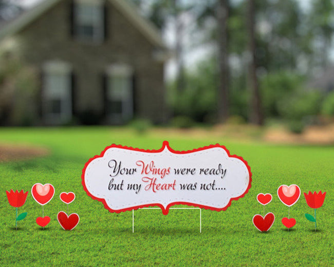 Funeral Yard Sign Custom Heart Message with Additional Hearts and Tulips