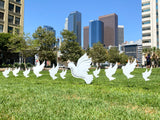 White Doves on Lawn Cardboard Cutouts