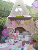 Stork Decoration for Birthday or Baby Shower