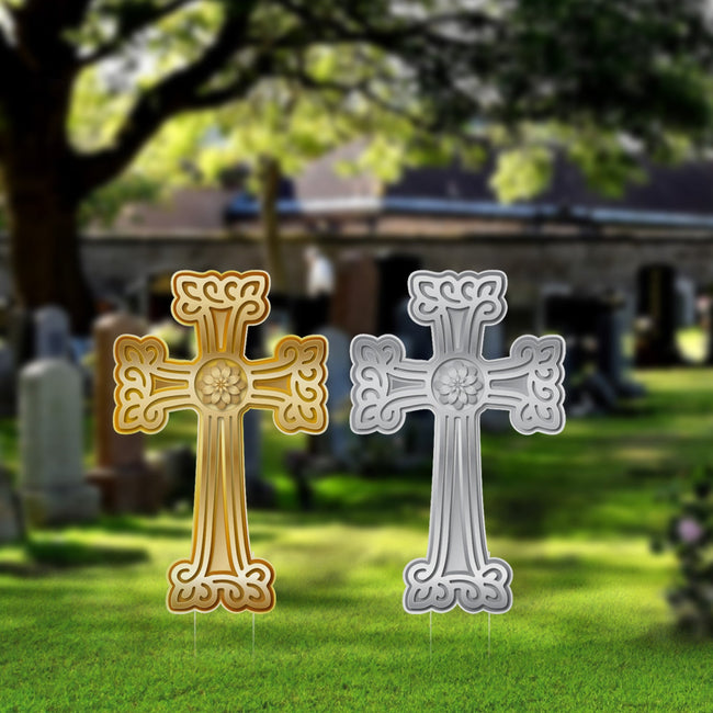 Armenian Cross Yards Sign, Gold Cross with Circle Flower 24