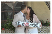 Love Not Cancelled hashtag, #Love Not Cancelled, Covid wedding Prop
