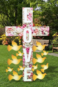 Life Size Funeral Love Cross Sign with Doves