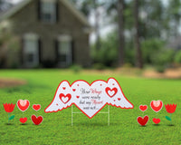 Funeral Yard Sign Custom Angel Wing Heart message with additional hearts and tulips Active