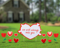 Yard Sign Custom Heart message with additional hearts and tulips