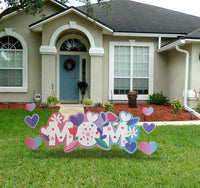 MOM Yard sign with hearts and Daisies Mothers day
