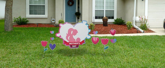 Heart shaped Mothers day Yard sign