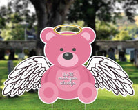 Teddy Bear with Wing, Baby memorial, Funeral baby sign. Infant and pregnancy Loss Gift