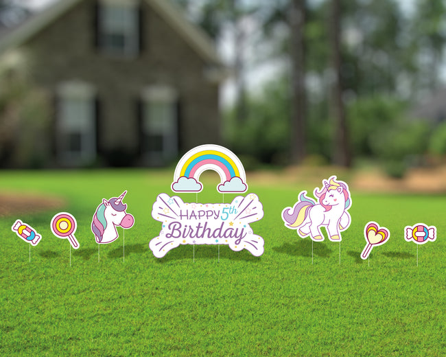 Cute Rainbow Unicorn Happy Birthday Yard Sign