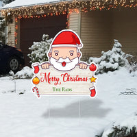 Custom Merry Christmas Santa Lawn Sign