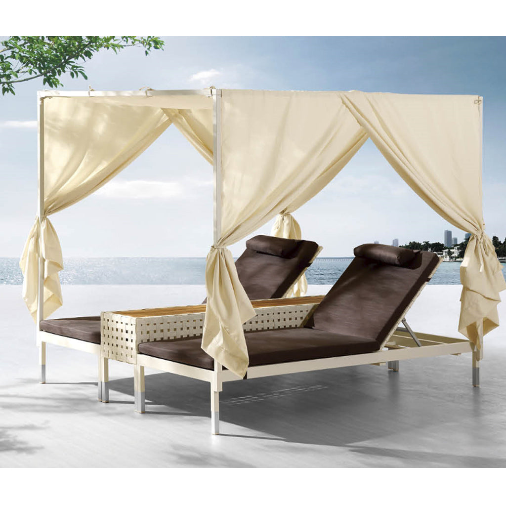 Taco Double Chaise with Long Side Table & Canopy