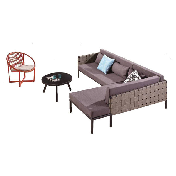 Asthina Sofa With Coffee Table And A Round Chair