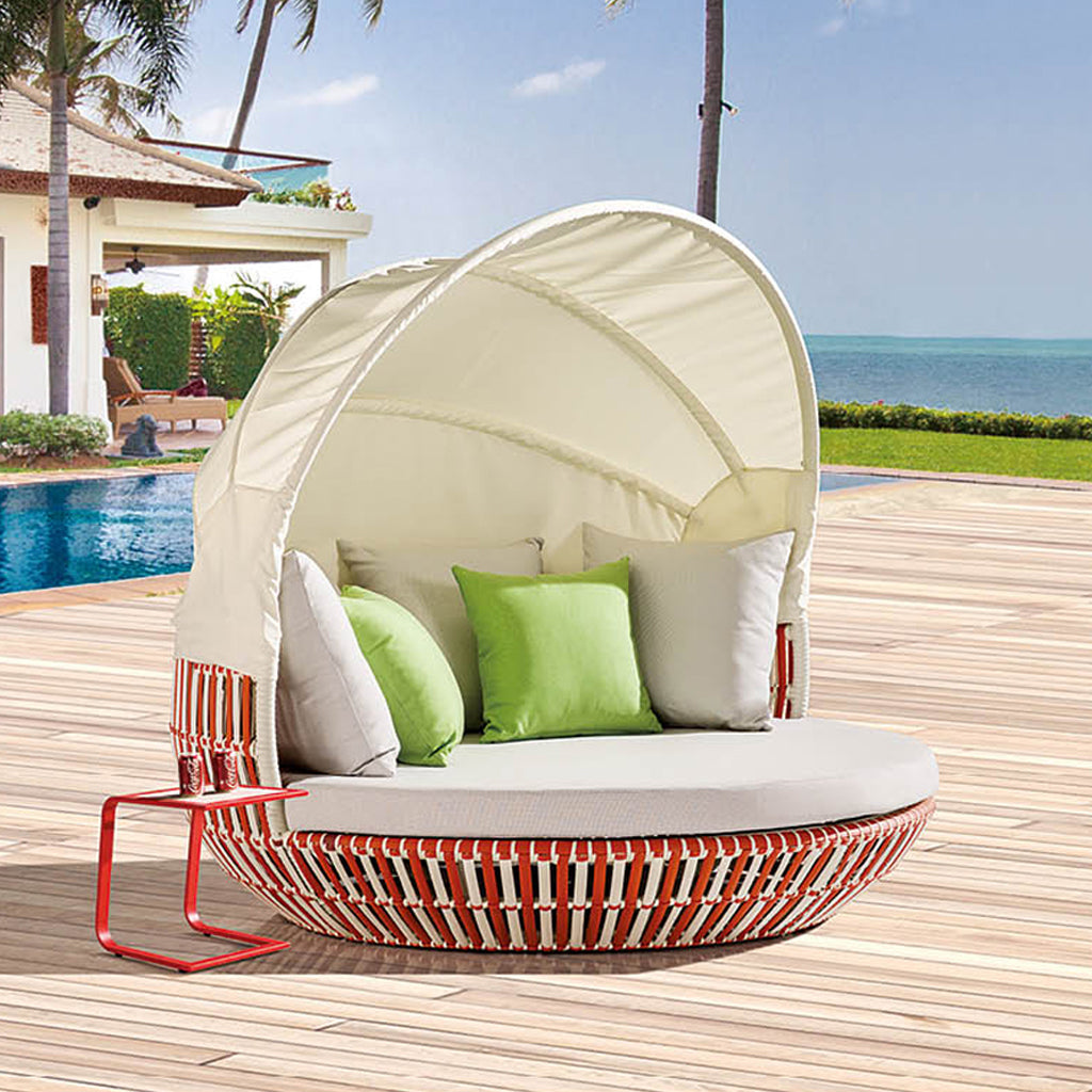 Apricot Round Daybed With Shade And Side Table
