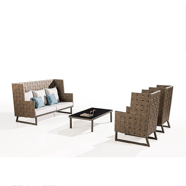 Asthina Outdoor 5 Seater High Back Sofa Set With Coffee Table