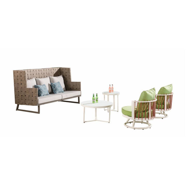 Asthina High Back Sofa With Round Chairs And Coffee Tables