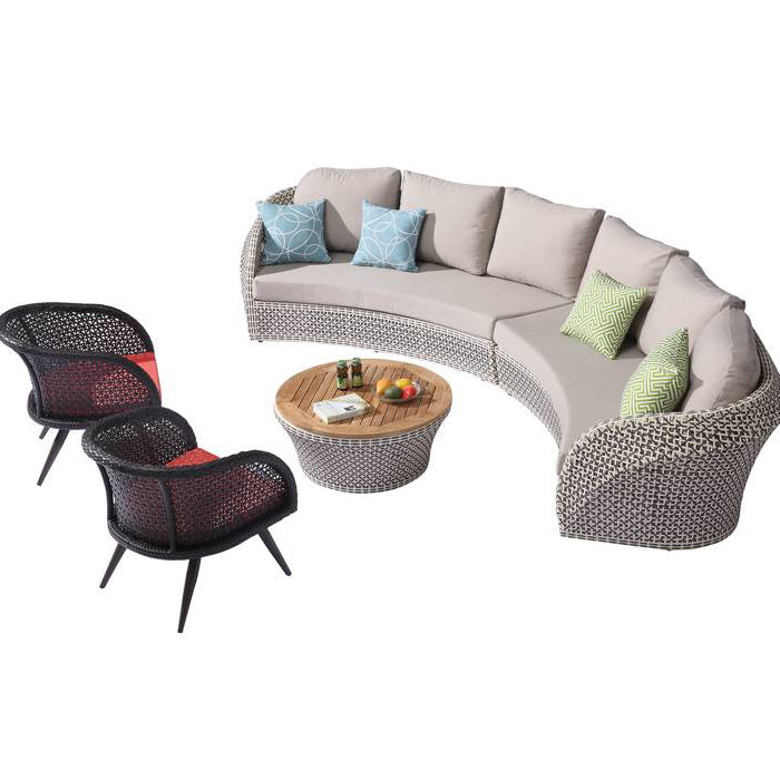 Evian Sofa Set With 2 Chairs And Round Coffee Table