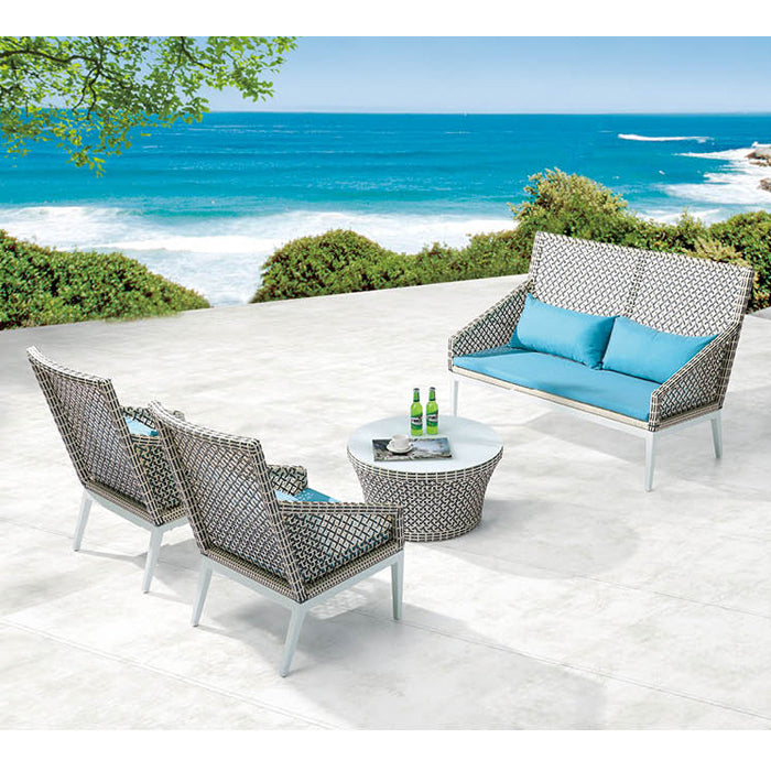 Provence High Back Loveseat Set With Chairs For 4