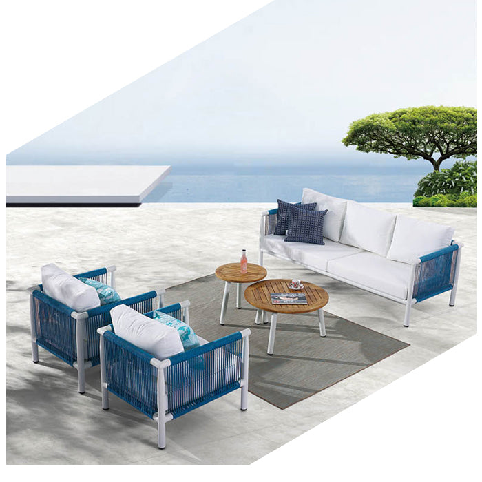 Venice Sofa Set For 5 With Round Coffee Tables