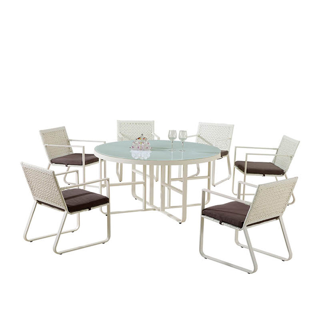 Orlando Round Dining Set For 6 With Arms