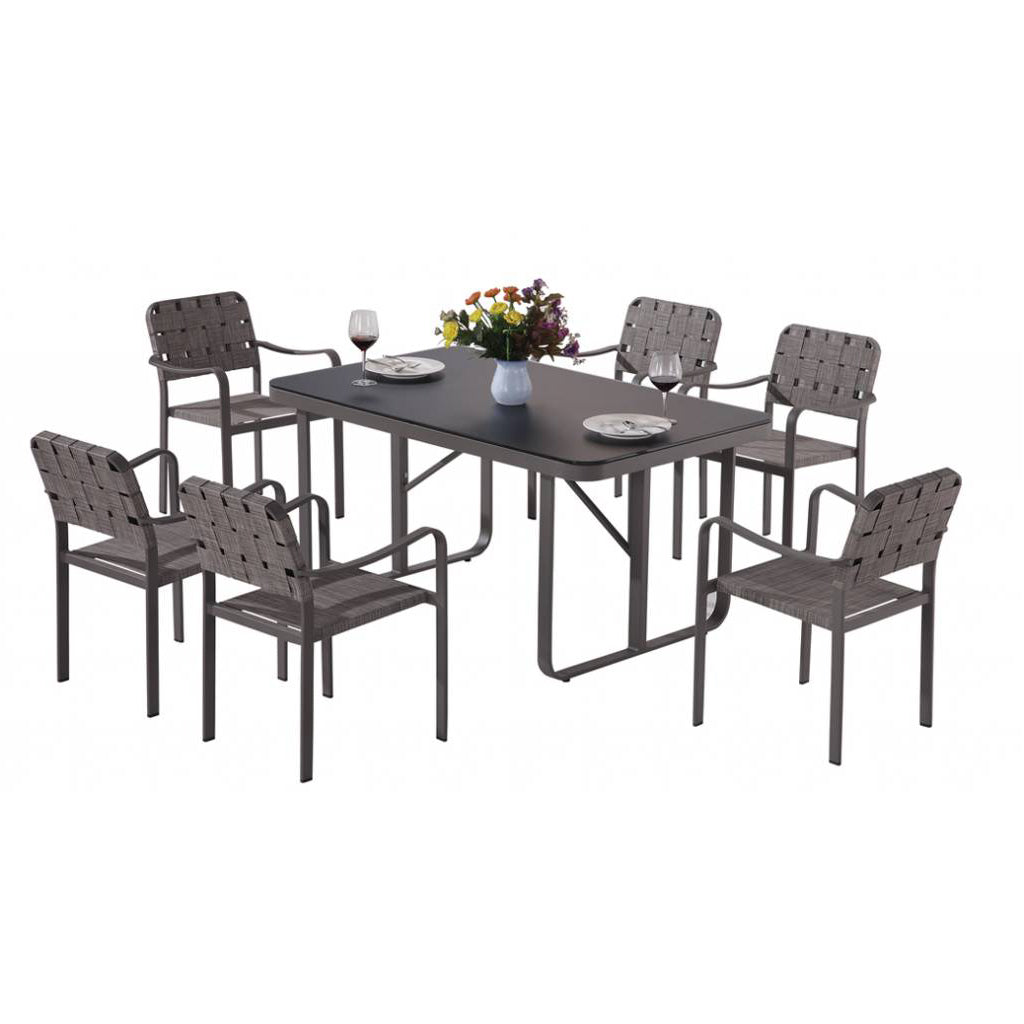 Edge Dining Set For Six With Arms