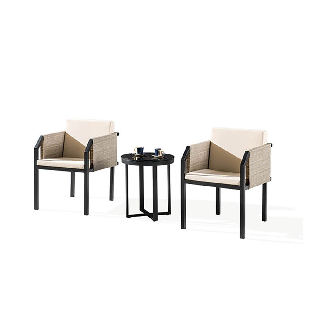 Barite Seating Set For 2 With Chairs w/ Side Fabric