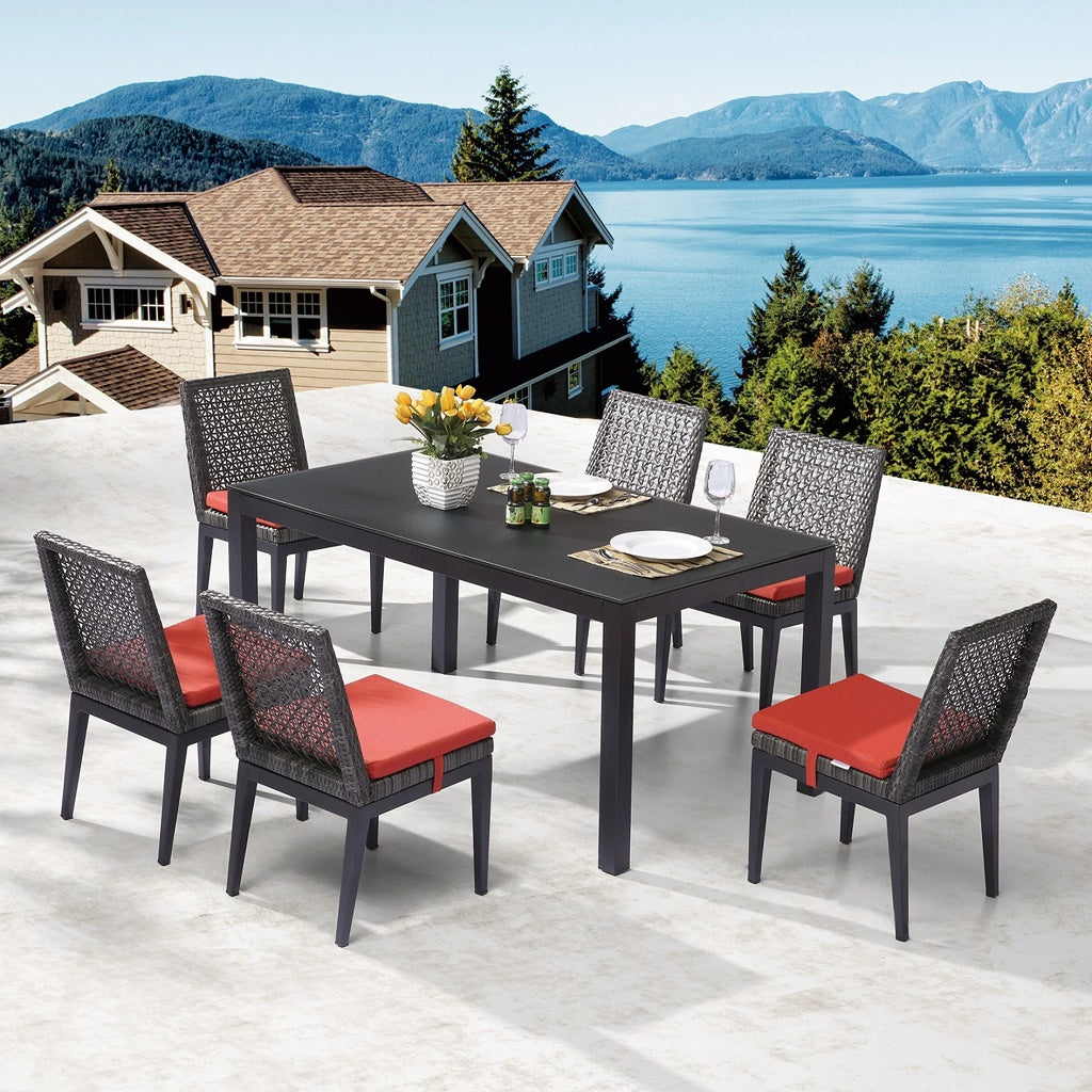 Provence Dining Set With Armless Chairs For 6