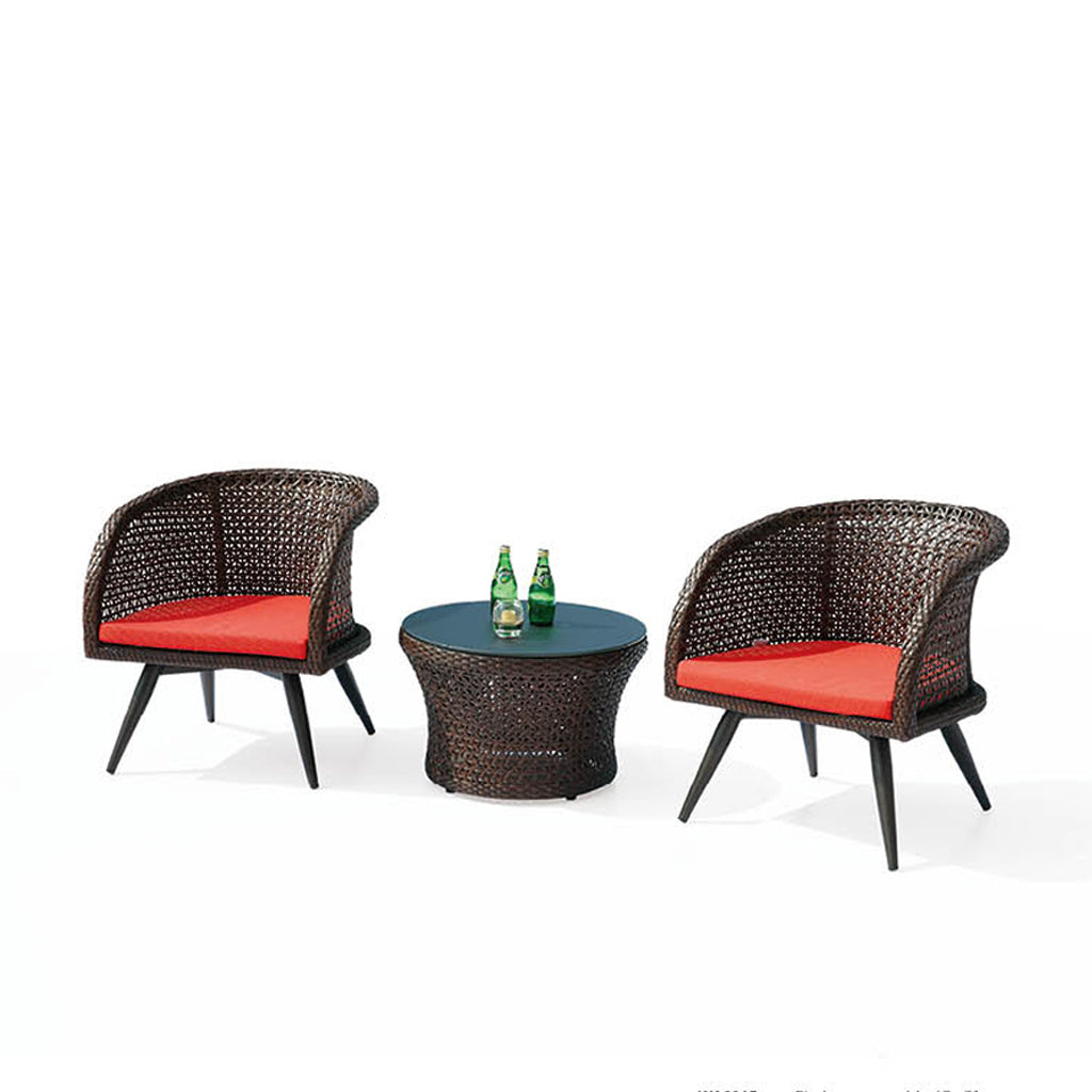 Evian Set For 2 With Woven Sides With Round Side Table