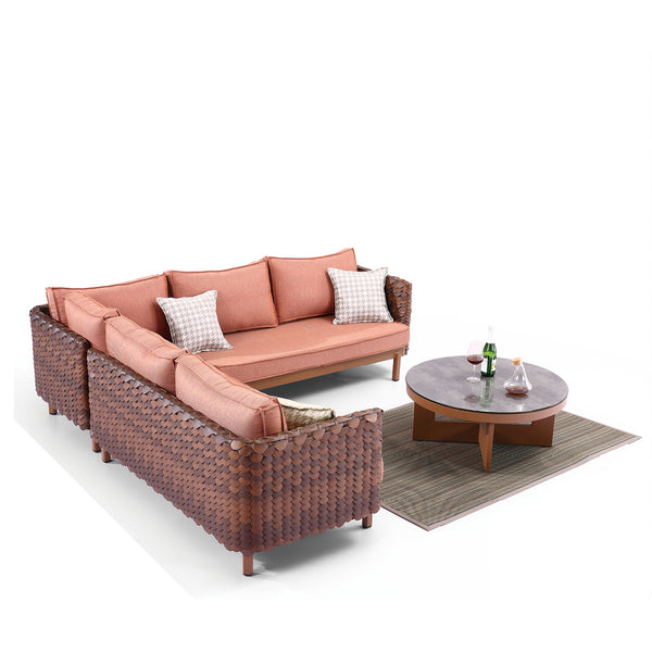 Manis Sofa Set For Five With Round Coffee Table