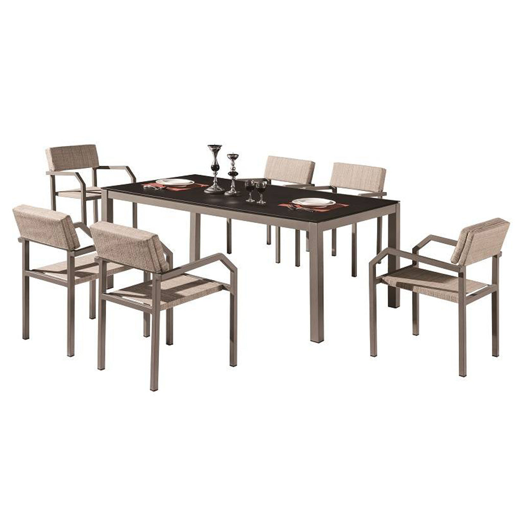 Barite Dining Set For 6 With Arms