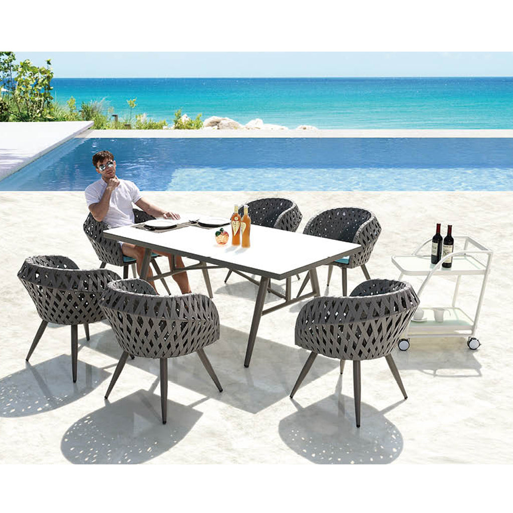Verona Dining Set For 6 With Trolley