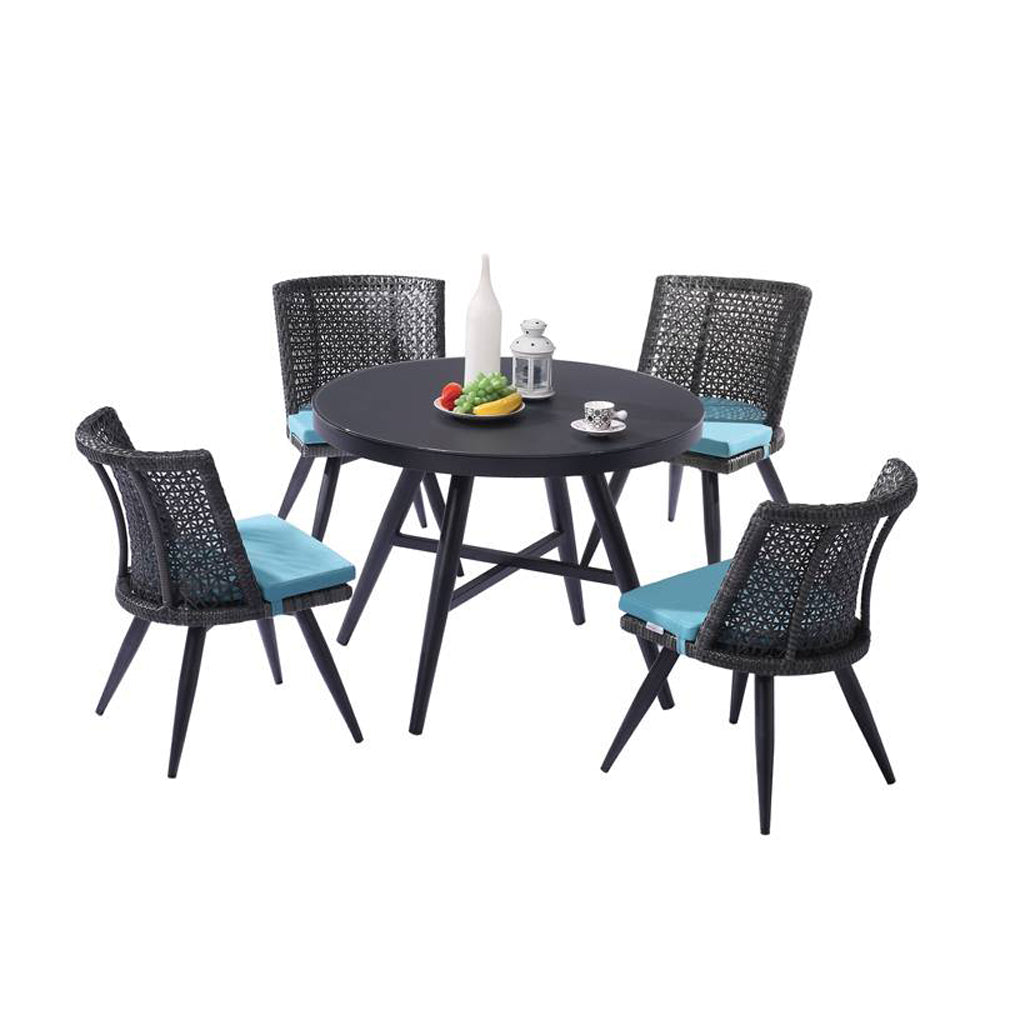 Evian Armless Dining Set For 4 With Round Table