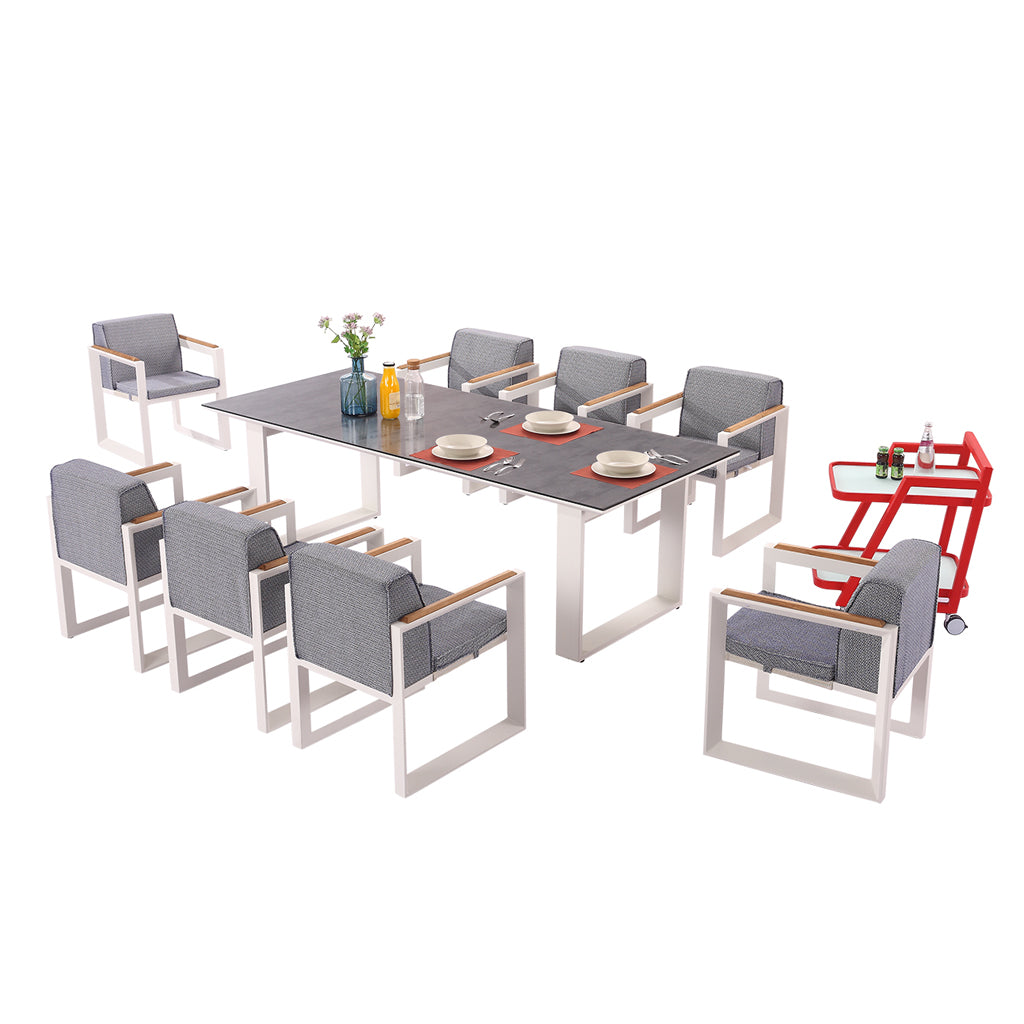 Burano Dining Set For 8 With Trolley