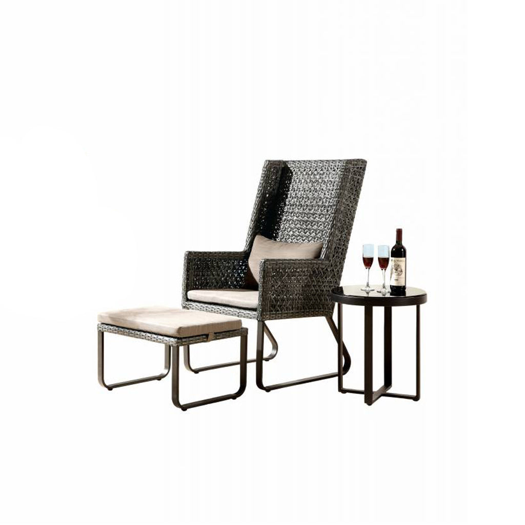 Orlando High Back Chair With Ottoman And Side Table