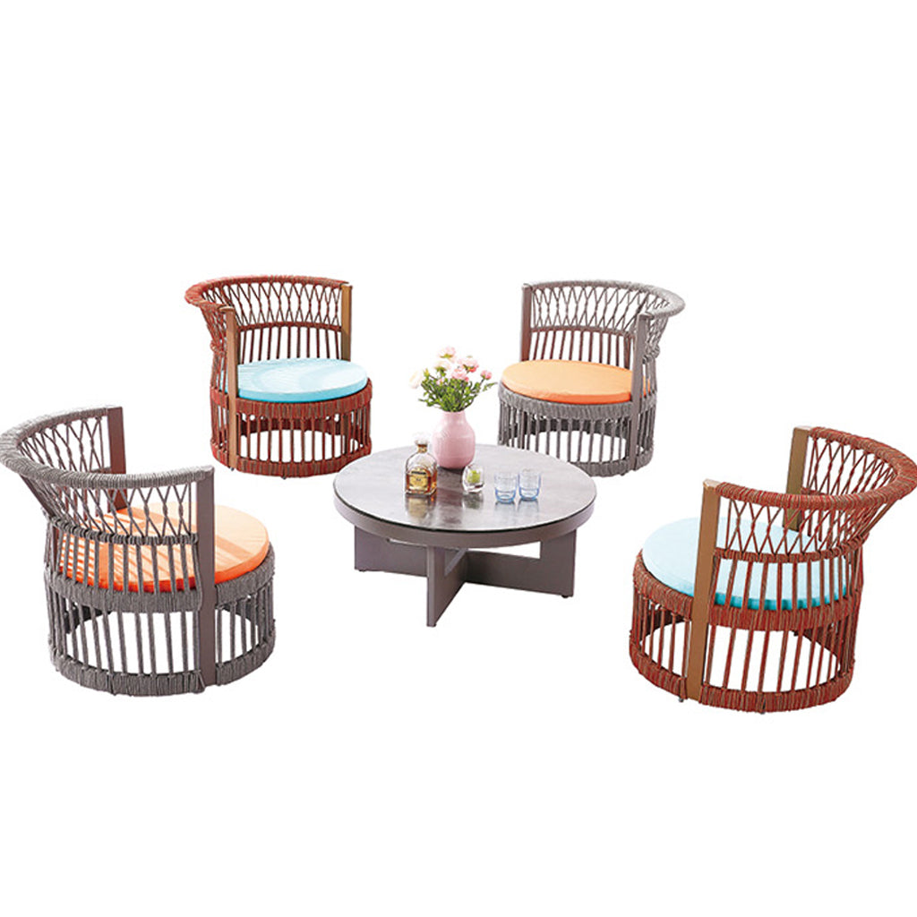 Seattle Round Chair Set For 4 With Coffee Table