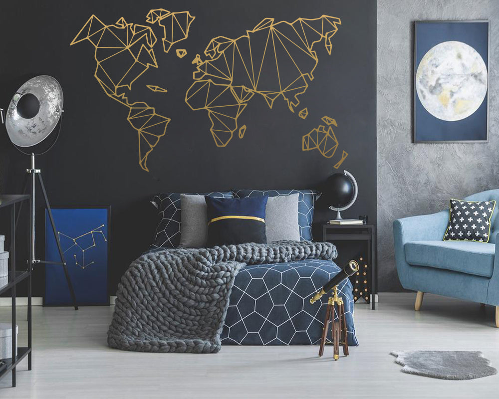 Geometric World Map Wall  Home Decoration Accessories