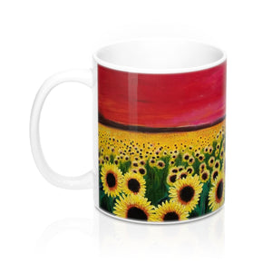 Sunflower Art Gift Mug 11oz - Red Sky