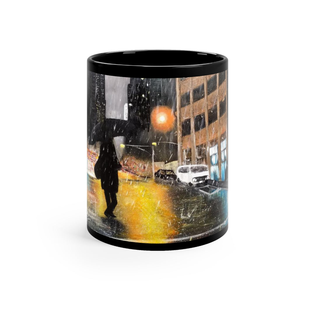 Rainy NYC Street Artwork Mug 11oz -