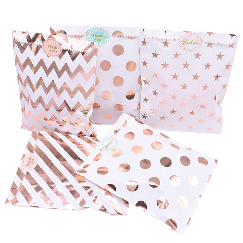 Metallic Pattern Paper Treat Bags 25pcs