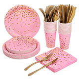 Gold dotted Disposable Tableware 150pcs Set