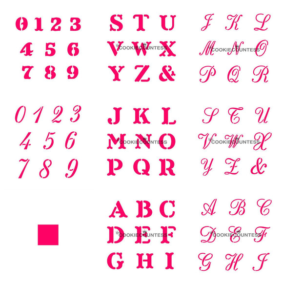 Alphabet/Numbers Stencil Set of 4/Letters Cookie Stencil/Numbers Cookie Stencil by Cookie Countess